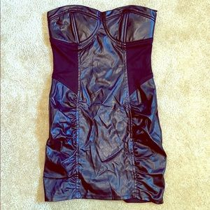 Forever 21 Faux Leather strapless mini dress
